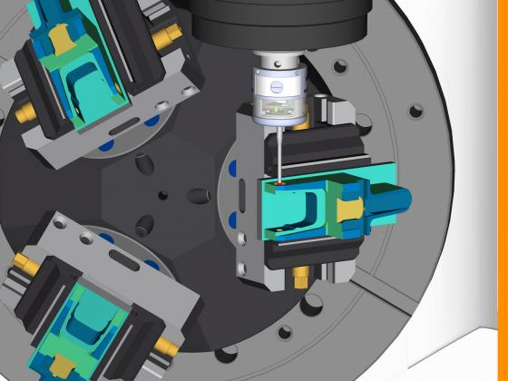 An image of an ESPRIT probing simulation using Mazak Smooth Ai.